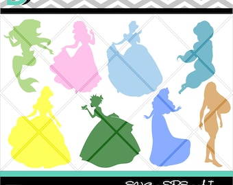 Princess svg, Cinderella svg, Princess Silhouette, Belle svg, Files,Clipart svg, Disney svg, Silhouette Studio, svg Files for cricut.