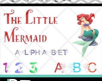 The Little Mermaid Alphabet svg, Disney Alphabet svg,Letters svg,Silhouette Studio,svg font,Cricut svg,Cut files,svg files for Cricut,