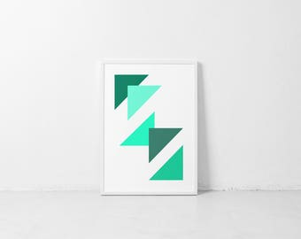 Bright Wall Art/Poster-Geometric print-Minimalist Art-Aqua