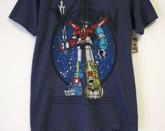 Vintage Voltron Defenders of the Universe Blue T-shirt- Size Women's Medium (Cotton/Polyester)