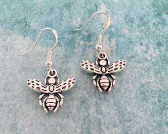 Bumble Bee Earrings,Bee Earrings,Insect Earrings,Bee Jewellery,Bee Charm,Small Earrings,Gift For Her,Gifts,Drop Earrings,Stocking Fillers