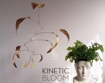 brass mobile leaves, calder mobile, kinetic art