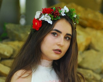 Red cream flower crown Bridal hair wreath Wedding floral crown Flower crown headband Bridal flower crowns Flower tiara wedding Rose crown