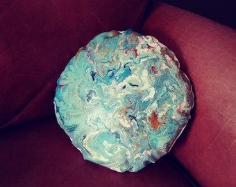 Fluid art blue and white throw pillow
