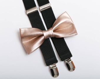 Copper Wedding bow tie Bronze bow tie Black suspenders Bow ties for men Mens braces Bow tie suspenders Wedding outfit PU leather Vegan tie