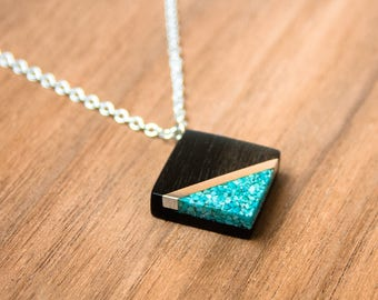 Rosewood  and silver inlayed with Turquoise necklace. Silver chain. Gift necklace.