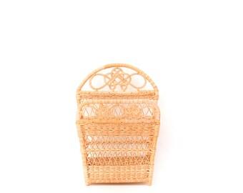 vintage straw basket | 70s decor | raffia book basket | square woven open basket | boho decor