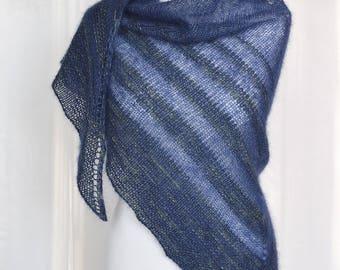 Hand knit mohair shawl, Blue triangle shawl, Women's merino wool wrap, Triangle knit wrap, Soft wool shawl