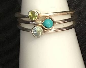 Rings in 925 sterling silver and turquoise, peridot and Topaz size 53
