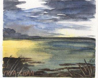 Original Watercolour Painting - A6 postcard (12 x 14 cm) - Storm is Coming, watercolours, waterscape, seascape, aquarelle, scenery