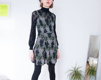 Black Dress | Mini Dress | Pineapple Print | Party Dress | Summer Dress | Short Dress | Print Dress | Casual Dress