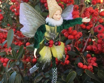 "Fae Folk® Fairies - HOLLY - Woodland Elf. Bendable, posable 5"" soft doll can sit, stand, or hang."