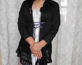 Black Steampunk Jacket, Black Cosplay Jacket, Tattered black lace jacket, Black Duster, Lace coat, Black lace cardigan