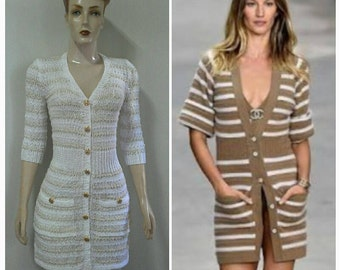 Tricot  Coco Chanel Gisele Bündchen  . Tricot Chamisier   Crochet dress . Handmade .  Designer crochet dress . Dresses. Cloting  dresses