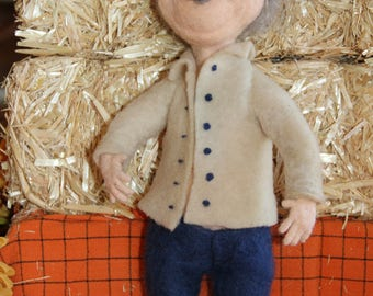 Handcrafted Needle Felted Wool Doll-Professor Fritz