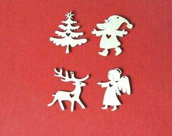 Christmas Tree Decorations Set of 4 Xmas Ornaments Set In Love Wooden Decorations Set Wood Ornaments Laser Cut Embellishment Christmas Decor