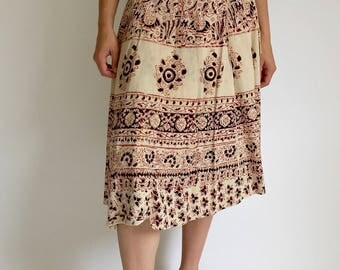 Vintage 24-32 Waist Adjustable Indian Cotton Paisley Wrap Skirt | Cream Brown Skirt | Made India Cotton Skirt | Vintage 70s wrap skirt