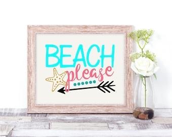 Beach Please Wall Art, Beach Decor,  Beach Decor, Beach House Gift, Nautical Decor, Beach Lover, Nautical Theme, Arrow Decor, Beach House