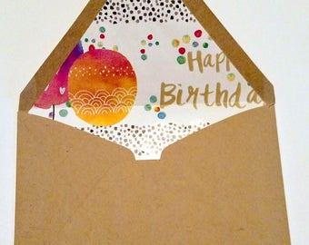 Festive Birthday Lined envelopes