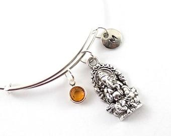 GANESH charm bangle, Ganesh silver bracelet, personalized bangle, initial bangle, initial hand stamped, birthstone bracelet, personalized