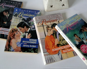 Harlequin Romance Novels, Paperback, Vintage Books, Spellbinder, Romantic Notions, Intense Involvement, Lovespell