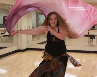 Raindrops on Roses Pink and Purple Silk Bellydance Veil, Bellydance Costume Veil