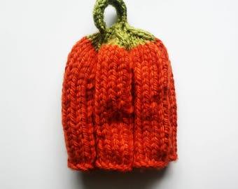 pumpkin hat, knit pumkin hat, pumpkin hat with stem, gourd hat, pumpkin beanie, unisex pumpkin beanie, fall baby beanie, toddler autumn hat