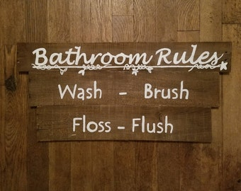 Pallet Wood Sign/ Bathroom Rules