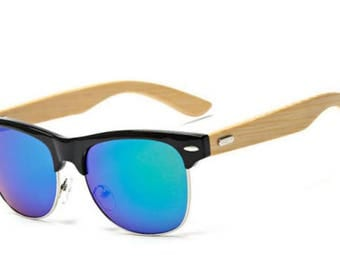 BLUE BAMBOO SUNGLASSES Surfer Beach Style Mens Bamboo Half Wood Style Summer Eyewear Personalized Gift Beach lover Wooden sunglasses prop