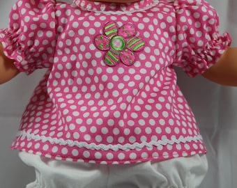 "Hand Sewn Baby Doll Clothing Two Piece Dress for 13-14"" Dolls - Multiple Colors - (Shown on 14"" Cloth Bodied Doll Not Included)"