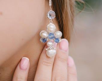 Freshwater Pearls Bridal Earrings, Silver Bridal Earrings, Bohemian Earrings, Something Blue, Blue bridal earrings
