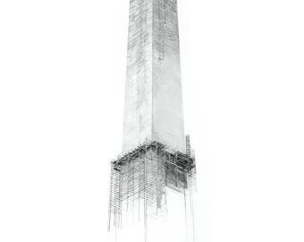 "Washington Monument Charcoal Drawing Print 16""x24"" (Limited Edition)"