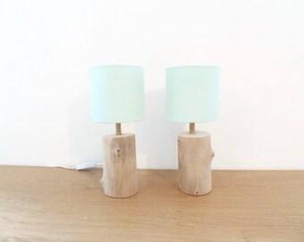 set of 2 lamps Driftwood - nightstands - log - Scandinavian pastel green round Lampshade