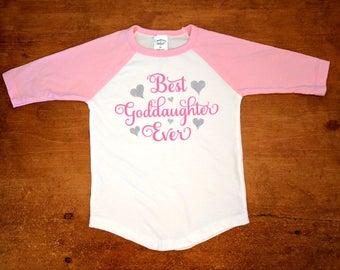 Best Goddaughter Ever Pink and White Baseball Shirt - Goddaughter Gift - Best Goddaughter Shirt - Gift for Goddaughter - Goddaughter Shirt