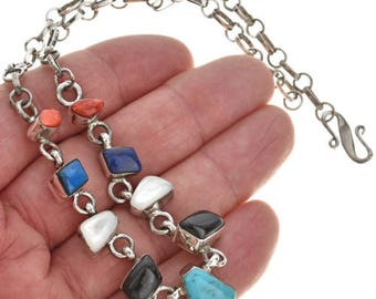 Genuine Turquoise Lapis Silver Necklace