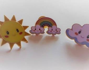Kawaii Happy Weather Pin Badges