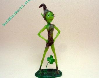 Dollhouse Miniature Pixie- Ooak Elf Sculpture- Good luck Fantasy Creature- Original Polymer clay Micro Figurine- Ooak-  Ready to Ship