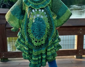 Shades of Green Mandala Vest/Duster/Jacket with 3/4 Bell Sleeves XS, Small, Medium  Free Shipping