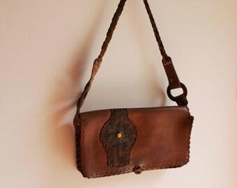 Leather bag, leather purse, Vintage leather bag, Vintage leather purse, Leather shoulder bag, Ethnic leather bag, Boho leather bag, Festival