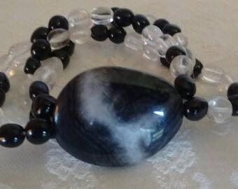Black and White Semi-Precious Stone Bracelet: