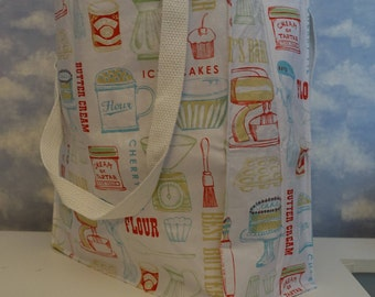 Large All Purpose Reusable Shoulder Tote bag - Kitchen Supply pattern, washable, grocery, market, shopping, fun fabrics