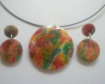 Rainbow colored Polymer Clay Jewelry