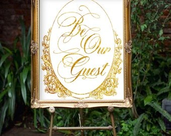 Disney Wedding Reception Sign , Be Our Guest Wedding Welcome Sign, Beauty and Beast Wedding Welcome Decor Card Printable, Fairytale Wedding