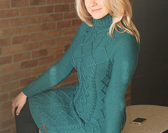 Hand knit aran style dress, merino wool cable dress, long sleeves turtleneck, made to order, custom hand knit stylish dress
