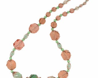 1930s Pink and Green Two Tone Glass Bead Vintage Necklace