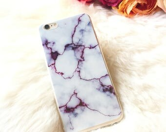 Marble iPhone Case White Purple Marble Phone 7 Case Marble Patter iPhone 6s Marble Print iPhone 6 Marble iPhone Gift for Her Gift For Women