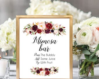Mimosa Bar Sign, Mimosa Sign, Mimosa Sign Printable, Bubbly Bar Sign, Printable Wedding Sign, Floral Wedding Sign, Burgundy, #D021