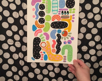 Bacteria Squiggle Painting, Acrylic and Watercolor Painting