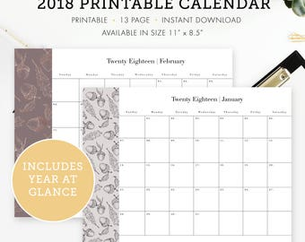 """2018 Calendar January - December,  a Year at glance, Size 11"""" x 8.5"""", Instant download"""