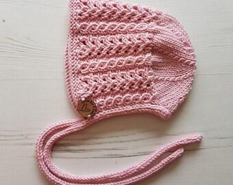 Baby Girl Bonnet, Knitted Bonnet, Hand Knitted, Hand Knit Baby Hat, Baby Shower Gift, Baby Gift, Kids Hat, Pretty Bonnet, Newborn Photo Prop